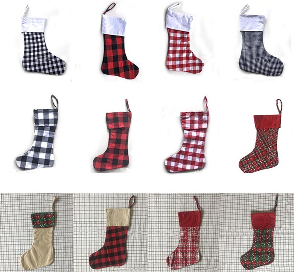 12 Style Christmas Decoration Plaid Stocking Gift Wrap Bag Christmas Tree Decoration Sock Personalize Kids Candy Gift Bags X Mas Stockings Best