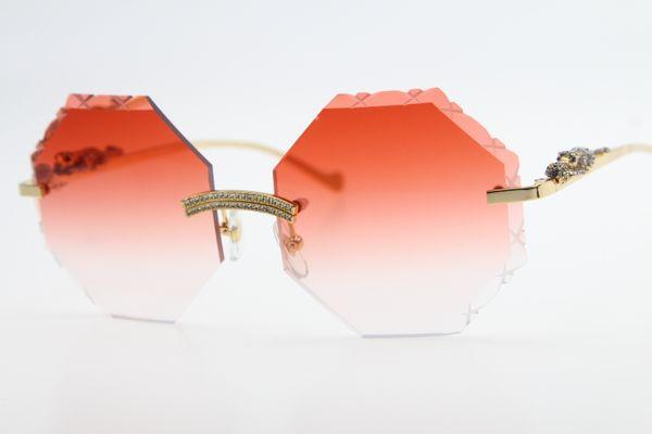 Hot 4189706 Randlos Leoparden Set Steine Sonnenbrille-Qualität Unisexgläser mit Kasten Diamant geschnitzte rote Linse