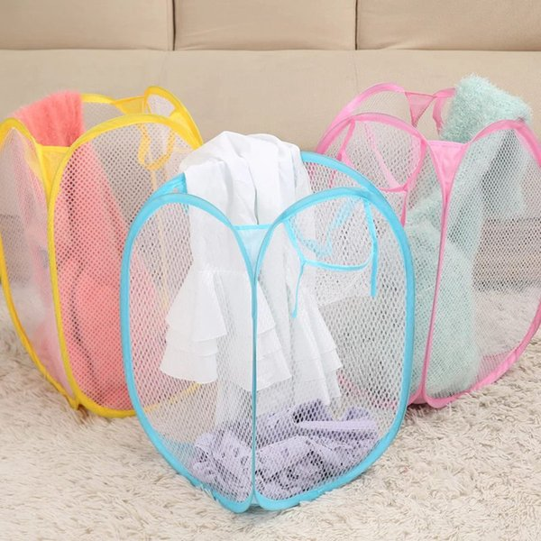Foldable Mesh Laundry Basket Clothes Storage Supplies Pop Up Washing Clothes Laundry Basket Bin Hamper Mesh Storage Bag RRA1824