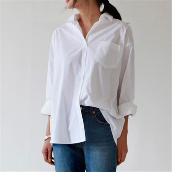 Beiläufige lose Frauen Shirts 2018 Herbst neue Mode Kragen plus Größe Bluse Langarm Tasten weißes Hemd Frauen Tops Streetwear
