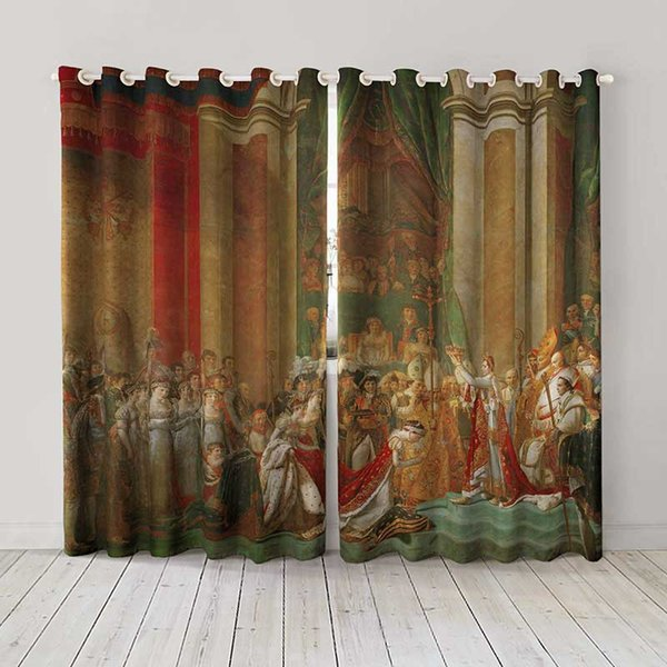 Personality Custom curtain world famous painting Coronation of Napoleon I drapes Extra wide Blackout curtain party decoration background