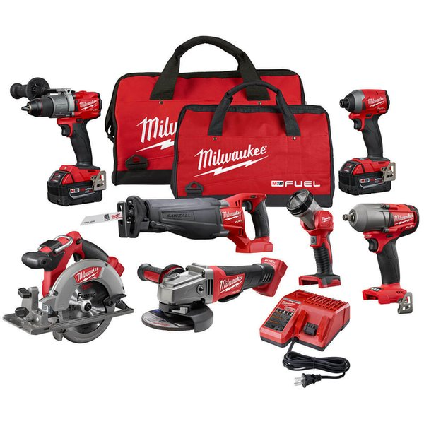 Milwaukee fuel m18 2997 27 18 volt 7 tool drill driver grinder aw wrench combo
