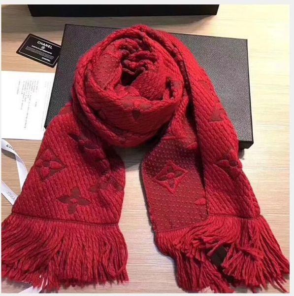 Winter LOGOMANIA SHINE Scarf High Quality Wool Silk Scarf Women and Men Two Side Black Red Silk Wool Long Scarfs Flower Scarves Shawls