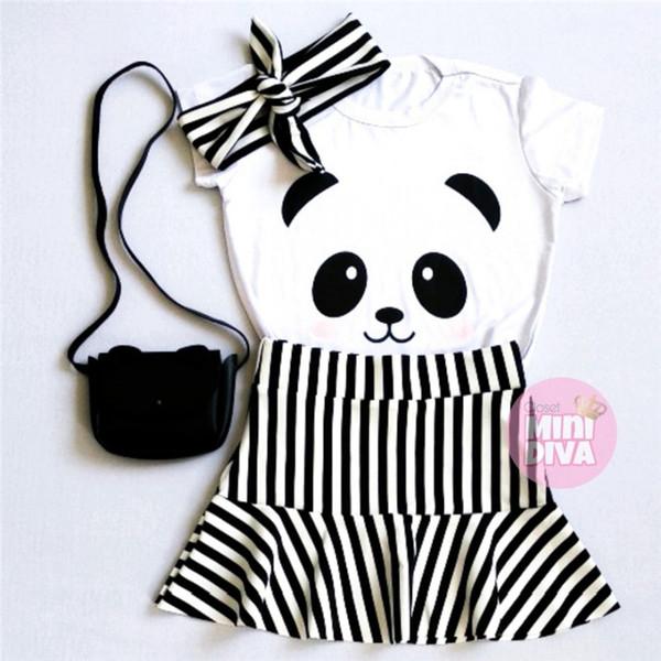 I bambini delle neonate vestiti Abiti Set Panda Stampa manica corta bianca supera la maglietta + nero e gonna a righe bianco