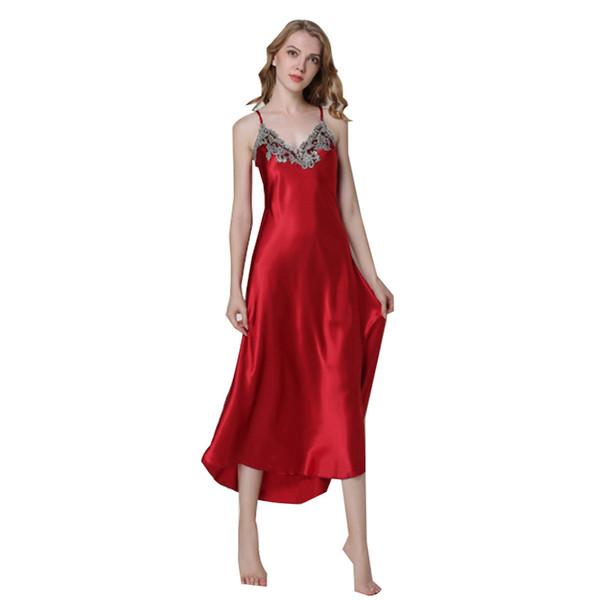 Дамы сексуальная шелковая атласная ночная рубашка без рукавов ночные рубашки длинная ночная рубашка с v-образным вырезом рубашка сна летняя ночь платье пижамы для женщин Q190517