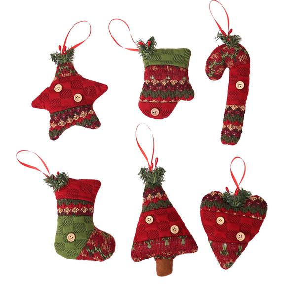 6 ADET Noel Çorap Crutch Eldiven Dekoratif Asılı Kolye
