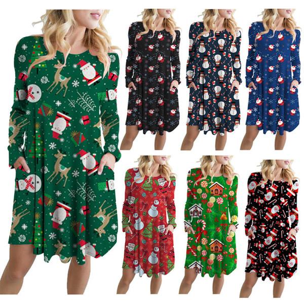 top popular Christmas Dresses Santa Claus Snowman Printed Long Sleeves Loose Skirt Women Girls Casual Clothing For Xmas Party Dress LJJA3430-3 2019