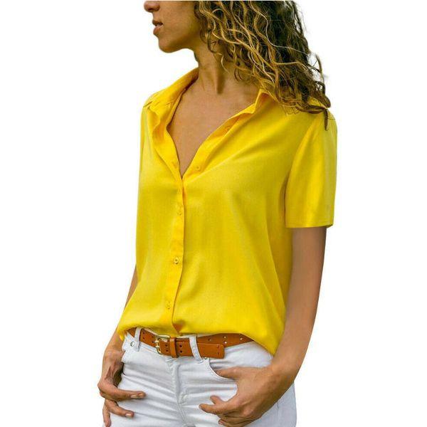 Blusas de mujer Blusas 2019 Blusa de gasa de verano Señora de la oficina Camisas de manga larga de trabajo Ropa de trabajo Tops Tallas grandes Blusas Feminina