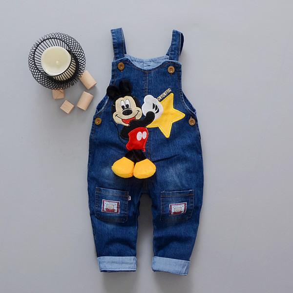 Karikatür Erkek Bebek Giysileri Denim Pantolon Elastik Bel Rahat Baskılı Toddler Pantolon Kız Pantolon çocuk Kot 1-4 T için Unisex