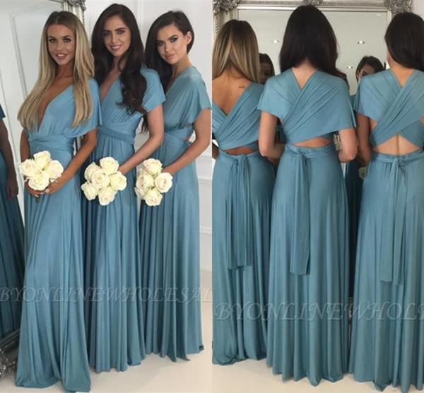 Dusky Blue African Bridesmaid Dresses For Summer Weddings A Line V Neck Pleats Long Bohemian Beach Garden Maid of Honor Gowns