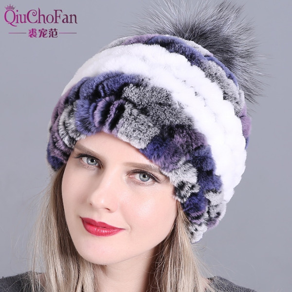 Winter fur hat for women real rex rabbit fur hat with fox fur pom poms knitted beanies 2018 new fashion good quality caps D19011503