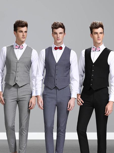 Single Breasted Sleeveless British Style Mens Suit Waistcoat Custom Made Slim Fit Blazers Wedding Tuxedo Vests For Men(Vest+Pants)
