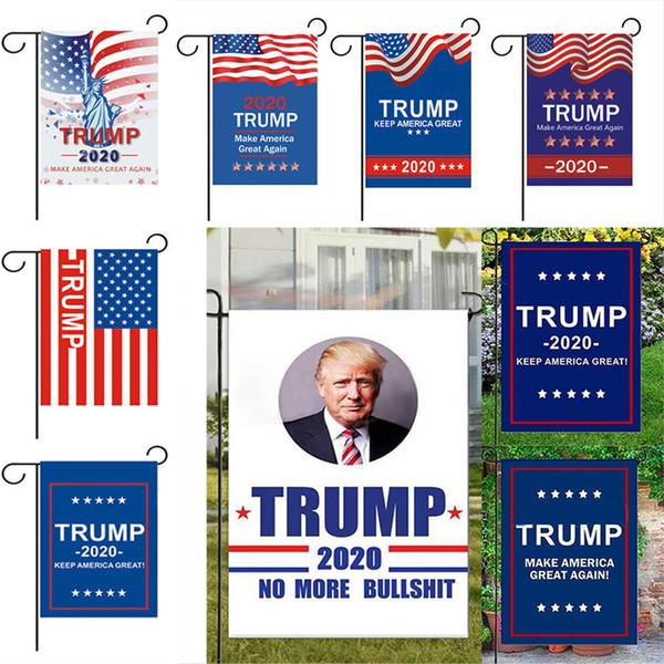 Trump Garden Flags 30 * 45 CM Präsident Parlamentswahl Banner 2020 Trump Flag Polyester Wimpel Banner Flags Gartendekorationen WX9-1374
