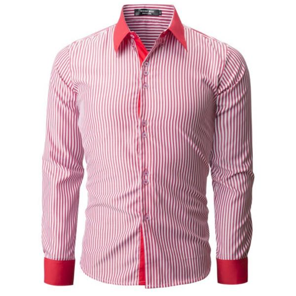 Brand 2019 Fashion Male Hawaiian Shirt Long-sleeves Tops Fashion Striped Shirt Mens Dress Shirts Slim Men Shirt Xxxl