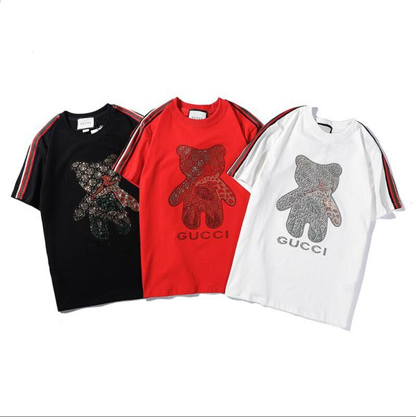 Sell well Summer New High quality brand fashion Man tshirts Little bear pattern elastic cotton o-neck Leisure time t-shirts