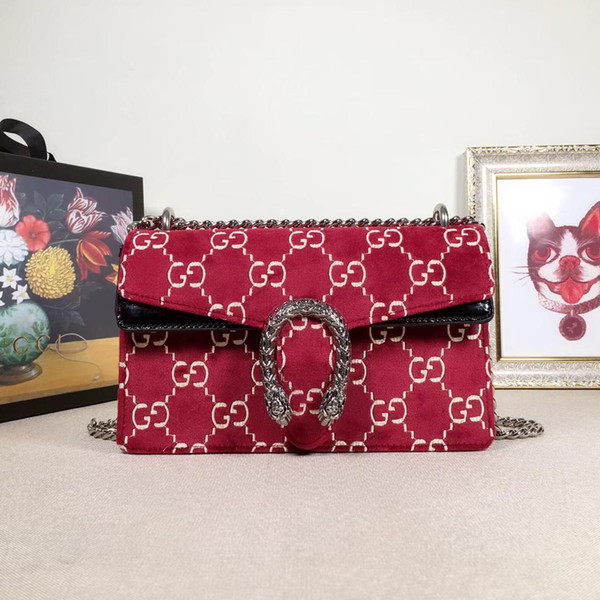 2019 Женские дизайнерские роскошные сумки из бархата Bee Star Маленькие сумки на ремне Красный Зеленый Черный Кожаный женский модный топ-ручки Ace Chain Totes