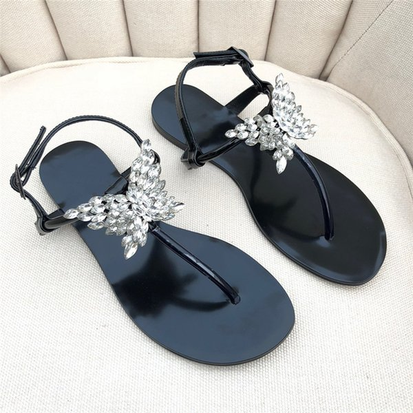 2019 New Style Women's Flat Heels Sandals Espadrilles Shoes Casual Sandals rhinestone butterfly Leather Print designer shoes Flip Flop
