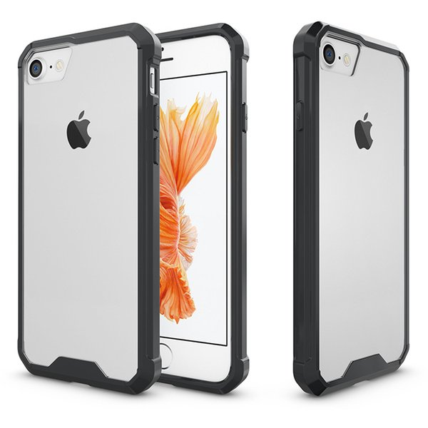 New for Iphone XR XS MAX X 6S 7 8 plus cell phone case pc acrylic hard back cover case transparent air bag shockproof luxury slim black