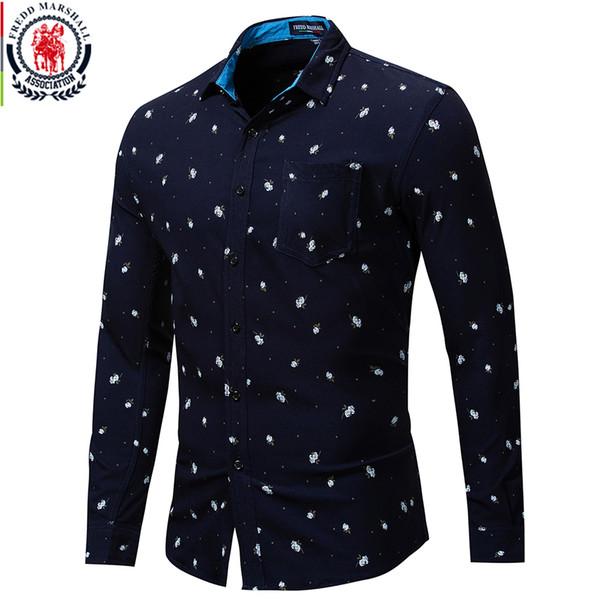 Toptan Sonbahar Yeni Uzun Kollu Gül Gömlek Erkekler 100% Pamuk Allover Baskılı Gömlek Erkek Gündelik Elbise Gömlek Cebi Ile