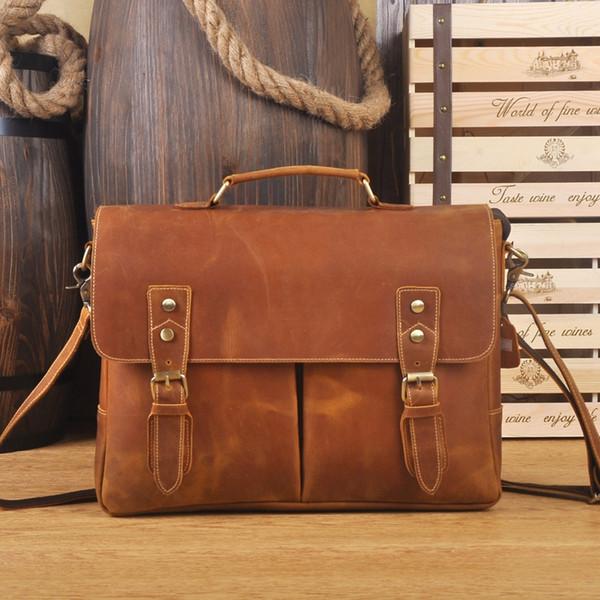 """LAPOE Crazy Horse Genuine Leather Briefcases 14"""" Laptop Bag Shoulder Bag Fashion Vintage Handbag Dark Brown #30383"""