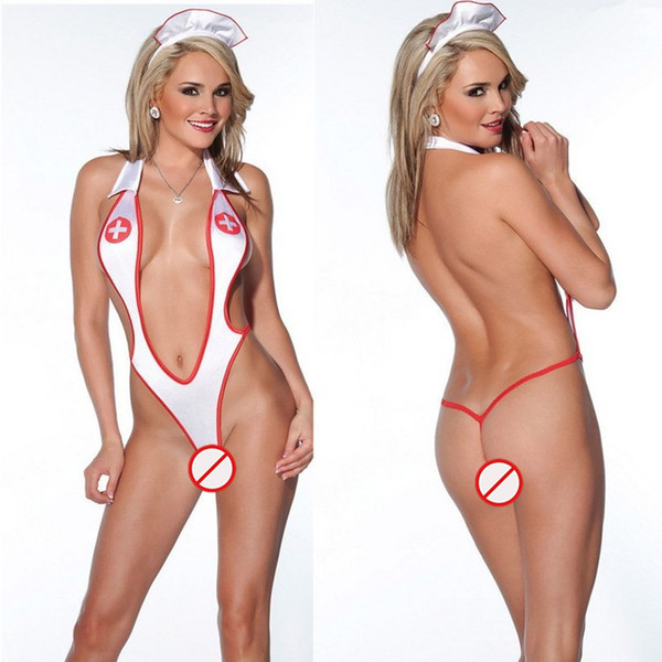 top popular Free Shipping New sexy lingerie cosplay white sling straps deep V nurse temptation conjoined three-point suit pole dance hollow clothing paj 2021