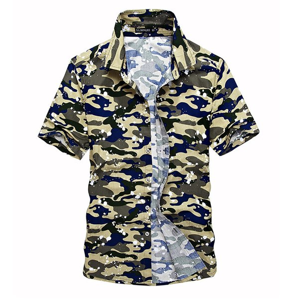 2019 Fashion 100% Cotton Mens Short Camouflage Shirt Men Army Combat Casual Shirt Military Slim Fit Camo Male Shirts