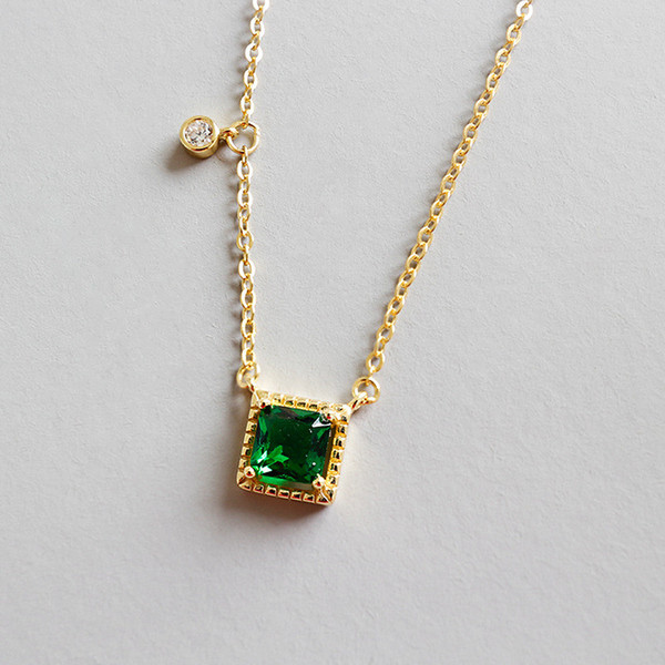 New Fashion 925 Sterling Silver Emerald Square Pendant Necklaces For Women White Zircon Charms Geometric Necklace&Pendant