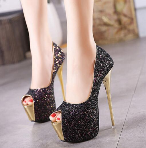 16 cm high heels 2019 new stiletto sexy nightclub fashion single shoes classic elegant fish mouth super high heel women's shoes