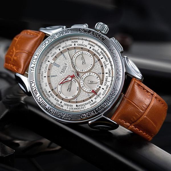 2019 Europa e America classico uomo orologi data settimana quarzo cinturino in pelle orologio moda orologio da uomo