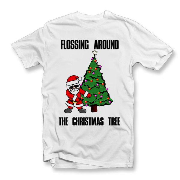 Adultos que Flossing em torno da árvore de Camiseta | Santa secreta | Presentes de Natal Engraçado frete grátis Unisex Casual Tshirt top