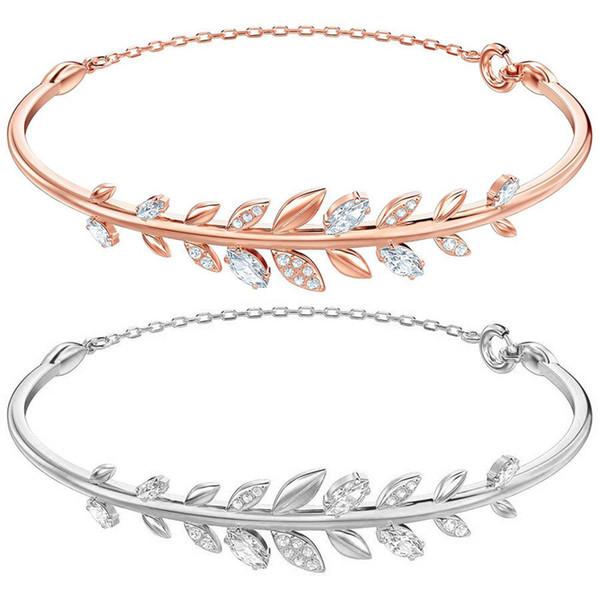 Kristie SWA New Autumn Filled con diamanti efficaci Bangle Branco Rose Gold Leaf Bracciale Figlia libera Jewel Gift Girl