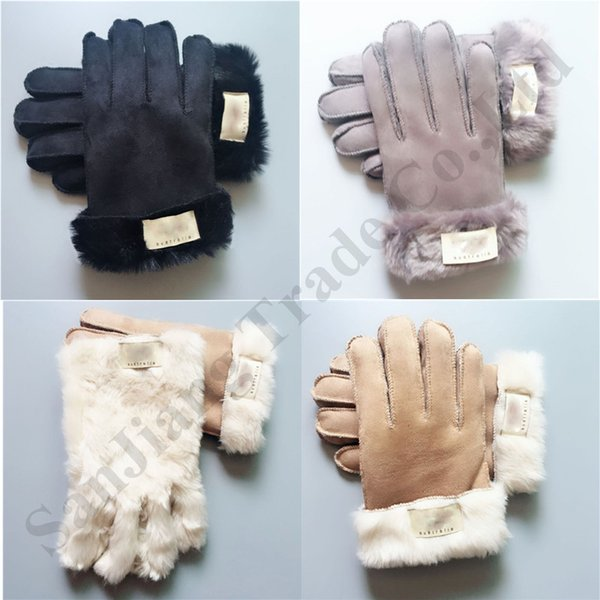 Winter Fur флис перчатки Марки Ug Женщины Handwear Дизайнерских перчатки Открытые лыжи Велоспорт варежка сгущают Теплые ветрозащитные перчатки горячий C92009