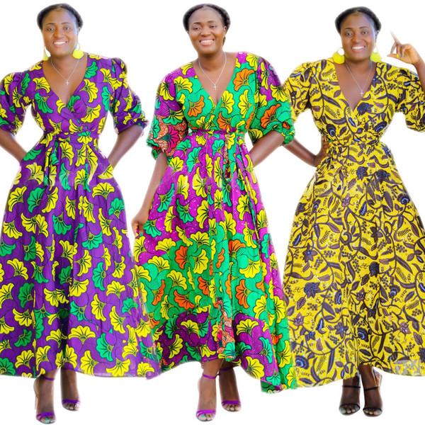 Cm555 Digital Printing Woven Skirt Petal Sleeve Depth V Waist Dress Nation