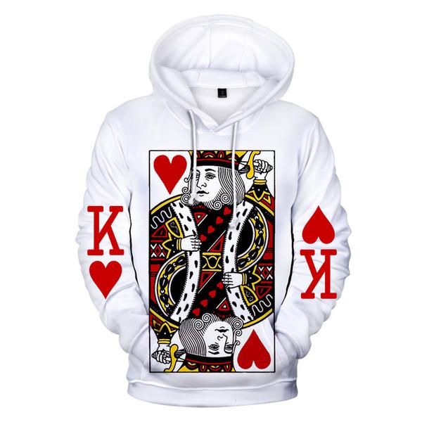 2019 Hommes / Femmes 3D Sweats Poker Diamant Roi King À Capuche K Imprimer Simple Blanc Cavaliers Poker Hoodies Streetwear Hauts XXS-4XL