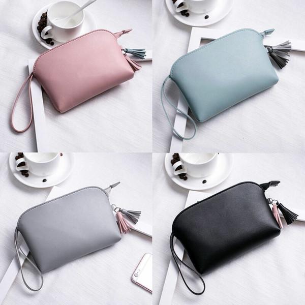 2019 nouvelles femmes en cuir PU portefeuille d'embrayage fermeture à glissière solide gland Casual mode sac à main maquillage sac mode porte-monnaie sac portefeuilles