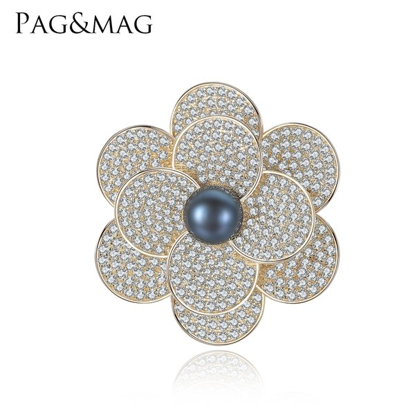 PAG&MAG Brand Shiny 925 Sterling Sliver Black Pearl Brooches & Pins Flower Shape Brooch For Women Vintage Scarf Clip Jewelry Accessories