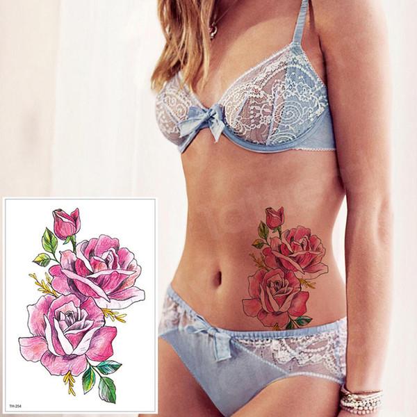 Waterproof Temporary Tattoo Sticker Rose Flower Personality Fake Tatto Sexy Flash Tatoo Hand Arm Foot Tattoo for Girl Women body