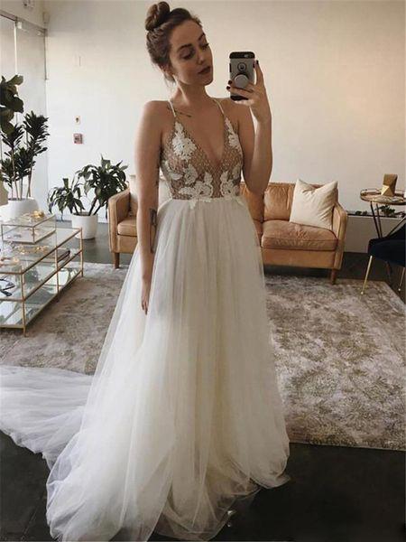 Romantic Spaghetti Wedding Dresses A Line White Appliques Tulle Long Sleeveless Bridal Dress Plus Size Custom Made