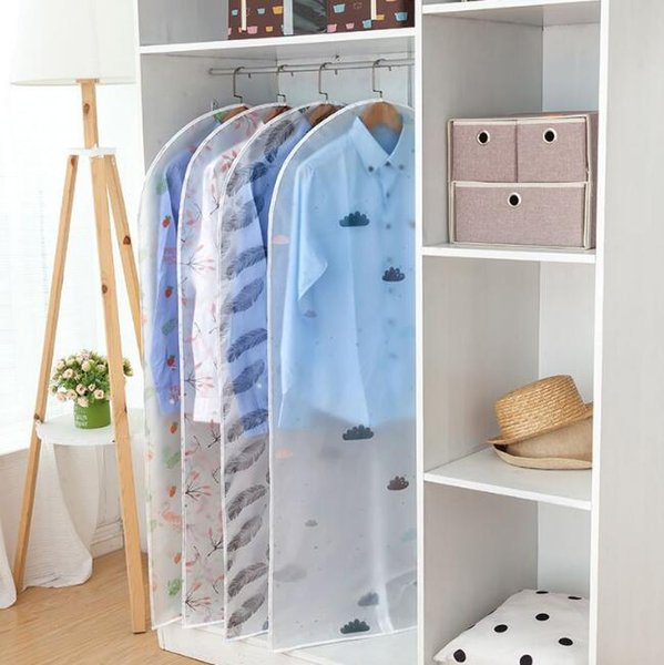 clothing wardrobe storage bag transparent dustproof clothes organizador garment suit coat dust cover protector hanging wardrobe storage