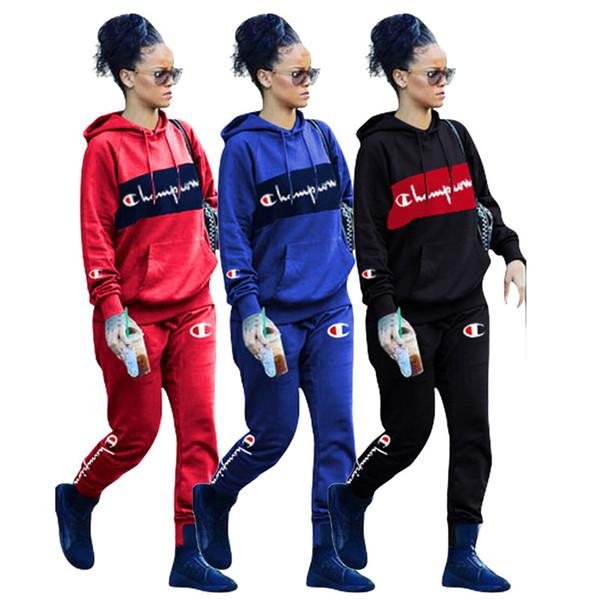 Femmes Champion Marque Costume Sport À Manches Longues À Capuche Chandail Designer Survêtements Broderie Lettres 2 Pièce Tenues Survêtement C8108