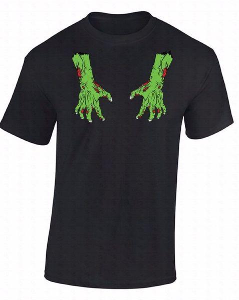 Хэллоуин футболка кровавый зомби костюм мертвые руки рубашка 100% хлопок повседневная печать рукав мужчины футболка О-образным вырезом