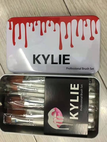 Kylie makeup bru he et 12 pc face foundation co metic bru h kit makeup bru h tool with iron box dhl clearance ale