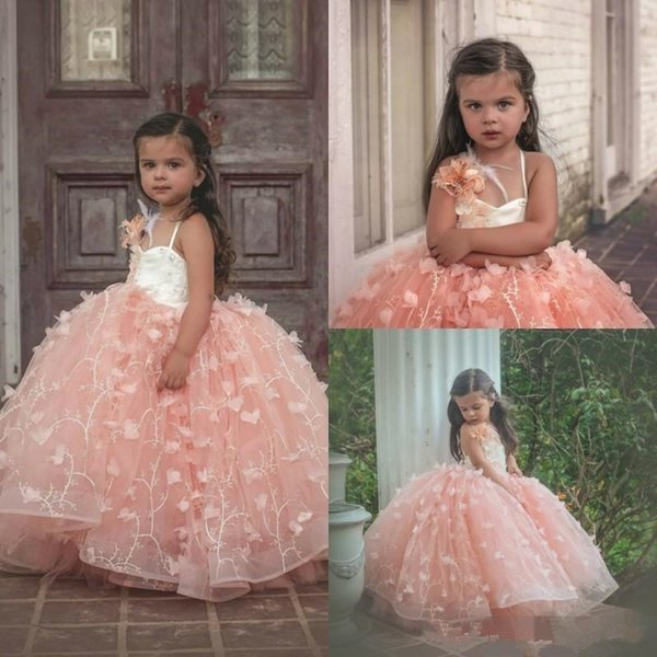 Blush Pink Flowers Girls Dresses Spaghetti Lace 3D Floral Appliques Puffy Princess Pageant Gowns For Vintage Wedding Party Prom Dress