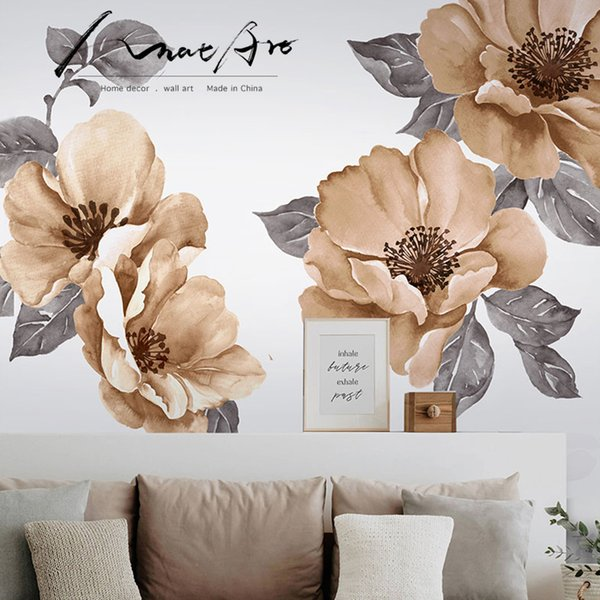 Watercolor Painting Wall Sticker Home Decor Living Room Flower Mural Wall Art Home Decoration Accessories Wallpaper Vinilo Diy T190710 Wall Decor
