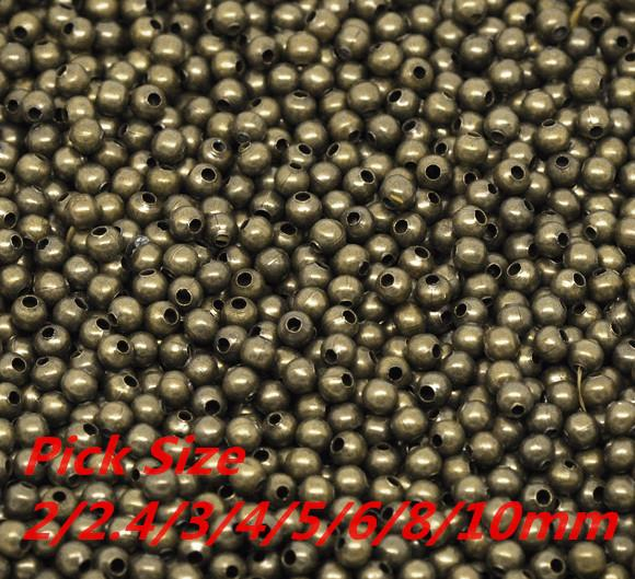 Fashion Jewelry Beads Antique Bronze Smooth Ball Spacer Beads Pick Size 2/2.4/3/4/5/6/8/10mm in Dia. Jewelry Making Findings Wholesale