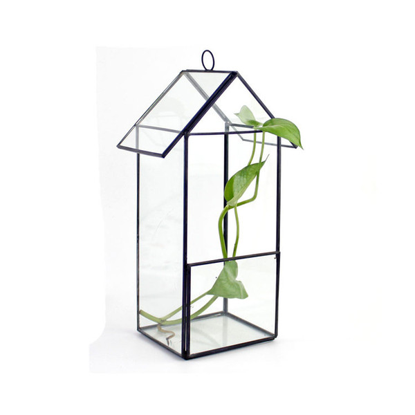 Hanging House Shaped Glass Terrarium for Succulent Air Plant Creative Microlandscape Greenhouse Flower Vase for Indoor Gardening