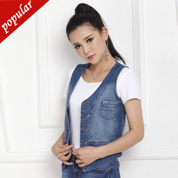 New Spring Summer Women Casual Plus Size Short Denim Vests Female V-neck Sleeveless Single Breasted Waistcoats 5xl W1091