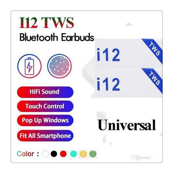 I12 tw bluetooth 5 0 wirele bluetooth headphone upport pop up window earphone colorful touch control wirele head et earbud hot
