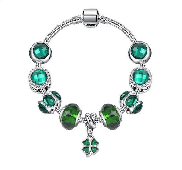925 Murano Glass Bracelet Jade Green Charm Beads fit Sterling Silver Pandora Charm Bracelet Jewelry Bangle DIY Clover Dangle Crystal Pendant