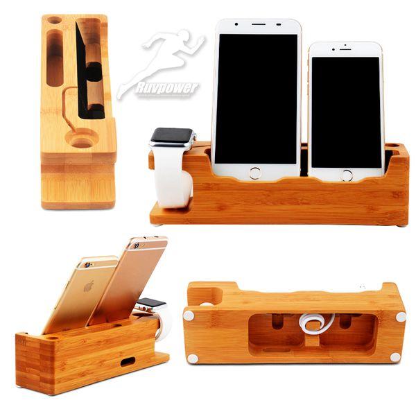 Support en bambou vente chaude bois pour apple montre stand de téléphone stand 2 en 1 titulaire pour iwatch iPhone et tout téléphone cellulaire